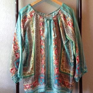 *Gorgeous* Johnny Was 100% Silk Teal Floral Tunic